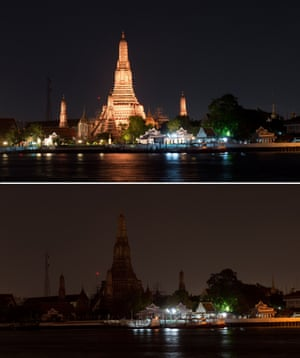 Two photographs show the Wat Arun Ratchawararam Ratchawaramahawihan Buddhist temple before and after its lights were turned off to mark Earth Hour in Bangkok.