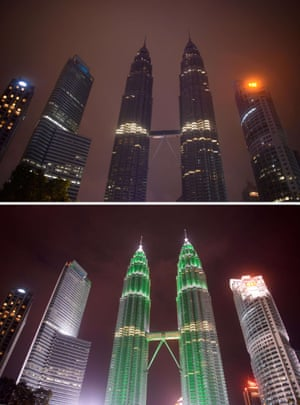 The Petronas towers in Kuala Lumpur before and during Earth Hour.