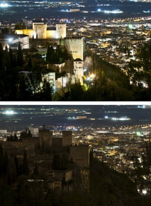 The Alhambra palace before and after its lighting was turned off during the celebration of Earth Hour in Granada city, Andalusia region, southern Spain.
