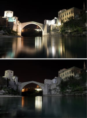 In Mostar, Bosnia, the Old Bridge before and during Earth Hour. The 16th-century bridge was destroyed during the war in Bosnia between 1992-1995, rebuilt and opened again in 2004.