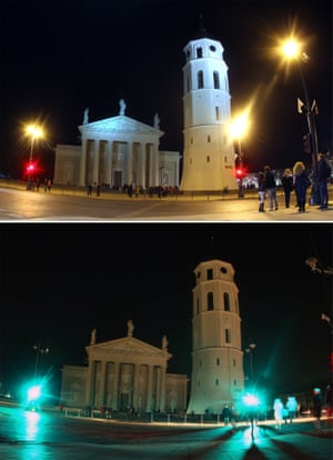 Vilnius Cathedral with the lights switched on and off to mark the annual Earth Hour in Lithuania.