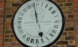 The 24-hour Shepherd Gate Clock outside the Royal Observatory, Greenwich, displaying Greenwich Mean Time to the public.