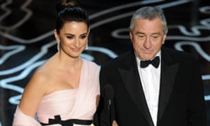 Penelope Cruz and Robert De Niro presenting the Oscars for best original screenplay and best adapted screenplay