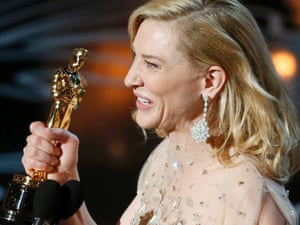 Cate Blanchett after winning the Oscar for best actress