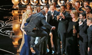 Steve McQueen jumping for joy after 12 Years a Slave won the best picture Oscar