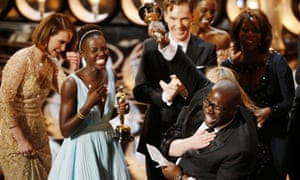 Steve McQueen celebrates winning the best picture Oscar for 12 Years a Slave