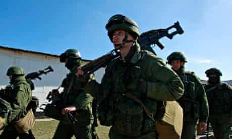 Military personnel in the village of Perevalnoye outside Simferopol in Crimea, Ukraine