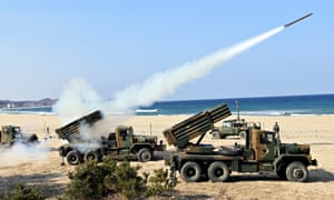 South Korean rocket launchers in action during US-Seoul military exercises