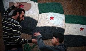 Azaz Syria flags