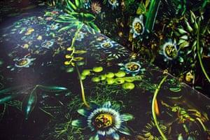 Lush digital prints at Dries Van Noten exhibition.