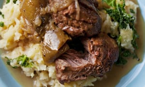 Nigel Slater's piled-up pigs' cheeks with apples and cider