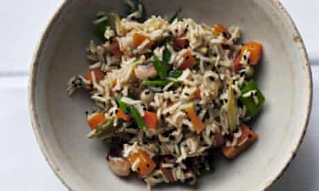 Nigel Slater's brown rice, carrot and cashew pilau vegetarian recipe