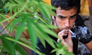 A cannabis smoker in Uruguay