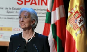 Managing Director of the International Monetary Fund (IMF), Christine Lagarde, delivers her speech as she takes part in the Global Forum Spain 2014 in Bilbao city, northern Spain, 03 March 2014.