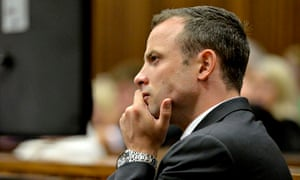 Paralympic star Pistorius sits in dock during Pistorius' trial for murder of girlfriend Steenkamp