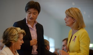 Australia's newly appointed Ambassador for Women and Girls Natasha Scott Despoja speaks to Julie Bishop and Penny Wong.