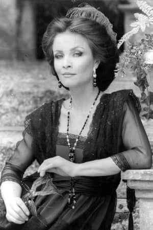 1981: O'Mara in costume for her role as Beatrice in the open air theatre production of Much Ado About Nothing, at Regents Park, London.