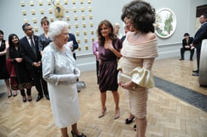 2012: Queen Elizabeth II with Kate O'Mara and Joan Collins at the Royal Academy of Arts, London, to mark the Queen's diamond jubilee.