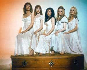 1970: Ingrid Pitt, Pippa Steel, O'Mara, Madeline Smith and Kirsten Betts for the Hammer horror film The Vampire Lovers.