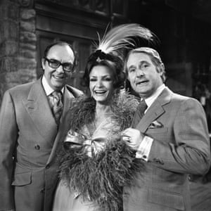1976: Ernie Wise and Eric Morecambe with Kate O'Mara.