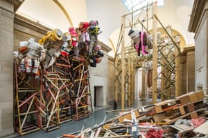 'Dock' by Phyllida Barlow at Tate Britain, London dock 2014 comprises seven interrelated works: