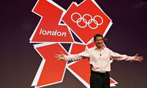 Sebastian Coe stands with the Olympic Games logo