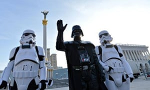 The Ukrainian Internet party's Darth Vader flanked by stormtroopers in Independence Square, Kiev,