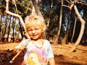 A child in a tie die t-shirt in Goa, 1983