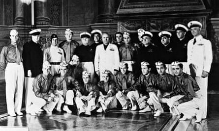 The Italy World Cup team with Benito Mussolini