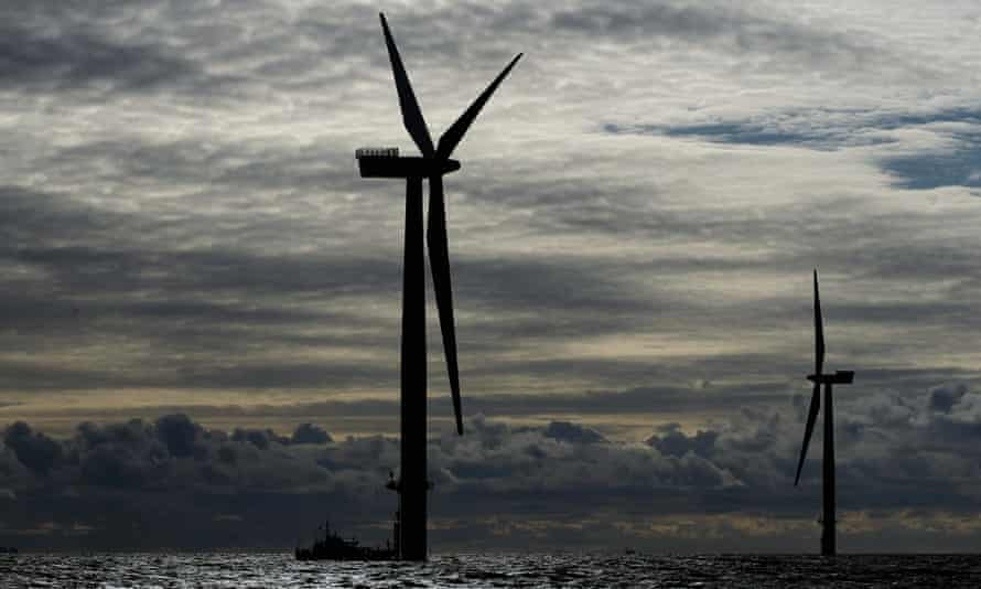 A view of Walney Offshore Windfarm, located 15km west of Cumbria in the Irish Sea