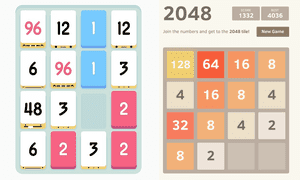 On the left, Threes!, on the right, 2048.