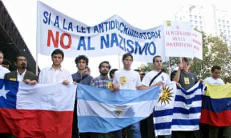 Marching against a Nazi congress in Santiago, Chile