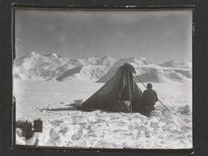 Dr Edward Wilson sketching, Beardmore Glacier, 13 December 1911.