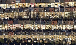 Terraced houses in London from above