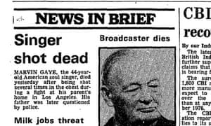Guardian news in brief, 2nd April 1984, Marvin Gaye shot dead