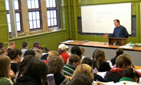 A lecturer Lecturing to welsh language students Aberystwyth University Wales UK