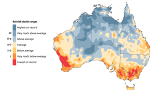 Southern wet season (April-November) rainfall deciles since 1996