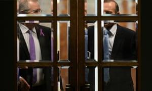 Prime Minister Tony Abbott and Immigration minister Scott Morrison. Morrison is on his feet right now.