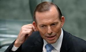 Tony Abbott in question time.