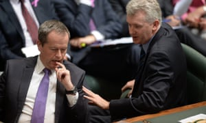 Bill Shorten speaks to manager of Opposition busines Tony Burke.