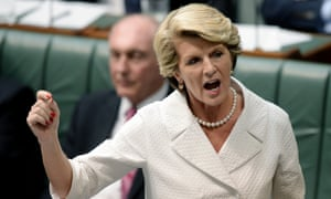 Julie Bishop in full flight in question time on foreign aid.