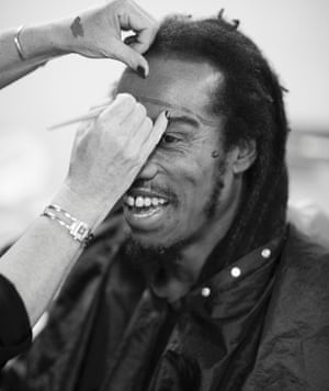 Benjamin Zephaniah prepares for his photoshoot. Who do you think he is going to be?