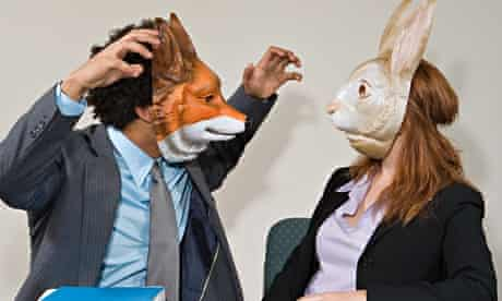 Colleagues wearing masks