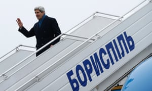 US secretary of state John Kerry arrives in Kiev, Ukraine on 4 March, 2014.