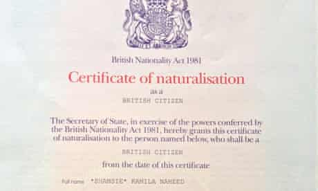 Kamila Shamsie 's citizenship certificate.