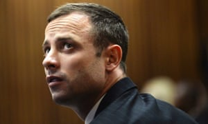 Oscar Pistorius pictured during the second day of the trial of the Olympic and Paralympic track star at the North Gauteng High Court in Pretoria.