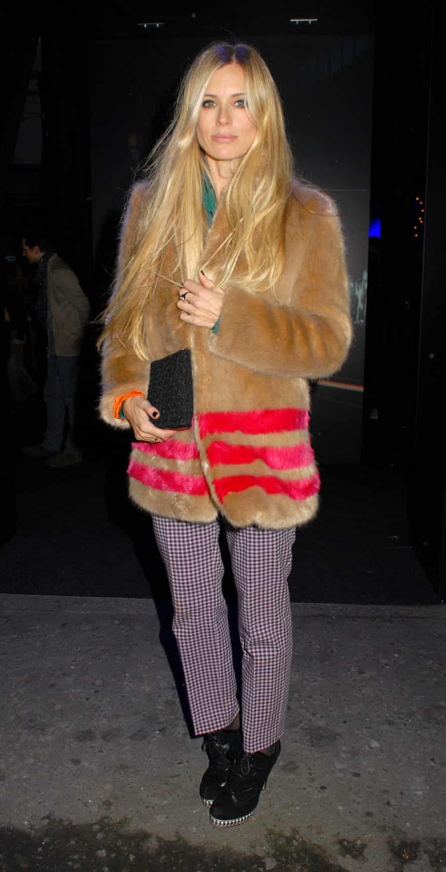 Laura Bailey wearing a faux fur by Shrimps. Photo by REX