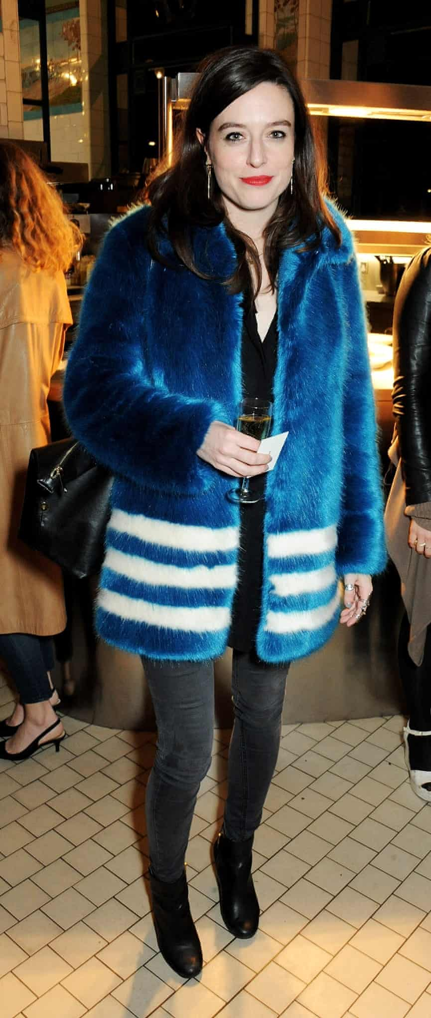 Fashion journalist Lou Stoppard in her Shrimps coat