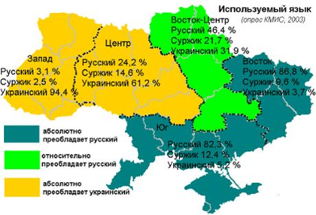Ukraine crisis languages map