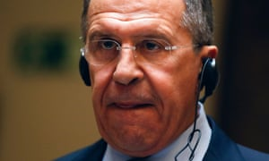Russian foreign minister Sergei Lavrov at a news conference in Madrid.